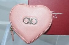Salvatore Ferragamo Womens Heart Pink Wallet Coin Purse Pouch Leather NEW