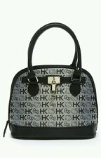 NWT Hello Kitty Gray Initials Dome Loungefly Black Jacquard Leather Satchel