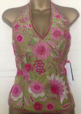 Aftershock Green Pink Silk Corset Boned Halter Seqin Beaded Top XL 14 16 38 40
