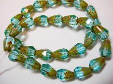 15 Czech Glass Aqua Picasso Faceted Teardrop Beads 8x5mm