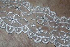 "2 yards White wedding bridal embroidered rhinestone Organza lace Trim 1.75"" w3"