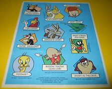 Vtg 1994 LOONEY TUNES Warner Bros/Hallmark Reward Stickers~Porky Pig~Bugs Bunny