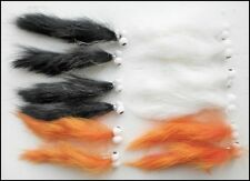 12 Booby Zonker Trout Fishing Flies, Orange/White & Black Size 10 FAST DELIVERY