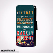 Floral & Famous Quote PU Leather Flip Wallet Phone Case for iPhone & Galaxy