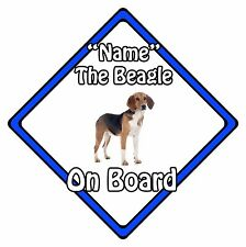 Personalised Dog On Board Car Safety Sign – Beagle On Board Blue