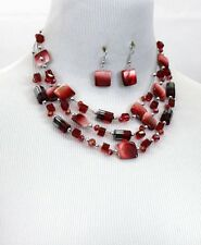 Three Layers Multi Red Square Shell Faceted Glass Bead Necklace Earring Set