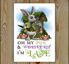 Alice In Wonderland, White Rabbit, I'm Late , Metal Tin Plaque | Wonderland Sign