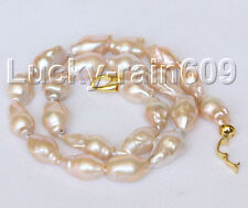 """Baroque 18"""" 28mm pink Reborn keshi pearls necklace E8999"""