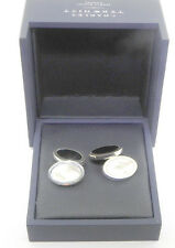 CHARLES TYRWHITT STERLING SILVER MOTHER OF PEARL ONYX OVAL CUFF LINKS