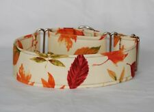 """2"""" Martingale Dog Collar Colorful Autumn Leaves on Cream Background"""