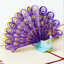 3D Pop Up Greeting Card Peacock Birthday Easter Anniversary Mother's Day FO