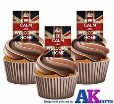 Union Jack Keep Calm And Welcome Home - 12 Edible Cup Cake Toppers Decorations