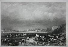 Genuine antique Victorian print, SOUTH SHIELDS HARBOUR, G. Balmer, 1840