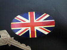 UNION JACK Flag Oval Classic Aged Car Bike STICKER 75mm British GB Helmet Retro