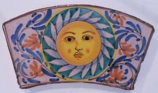 "Hand Painted Vintage Fratantoni Ceramic Wall Plaque Terracotta Tile ""SUN"" ITALY"