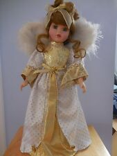 """BEAUTIFUL PORCELAIN ANGEL DOLL W/ GOLD/WHITE GOWN AND BROWN HAIR & BLUE EYES 17"""""""