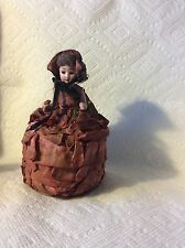 ANTIQUE GERMAN BISQUE DOLL CANDY CONTAINER-CLOTH DRESS -HAT