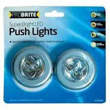 2 x Stick And Click LED Push Lights Self Adhesive Battery AAA Lamp Push On Kids