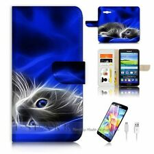 Samsung Galaxy Grand Prime Flip Wallet Case Cover! S8205 Pussy Cat