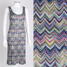 VTG 1970s 1980s MISSONI MULTI-COLOR CHEVRON KNIT SLEEVELESS DRESS SZ S CLASSIC
