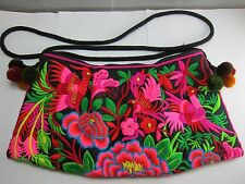 THAI HMONG PINK TRIBAL FLORAL EMBROIDERED HANDMADE BAG HILL VINTAGE