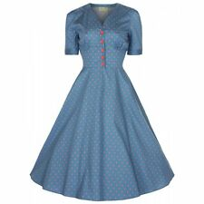 NEW VINTAGE 50'S STYLE IONIA SEA BLUE ROCKABILLY PARTY SWING DRESS SIZE 18