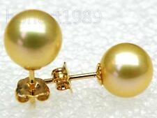 18k yellow gold AAA+++ 8.2mm round golden yellow south sea pearl earring stud