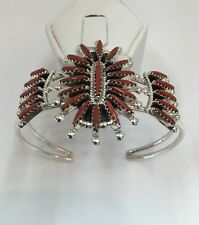 Native American Sterling Silver Zuni Needle Point Coral Cuff Bracelet