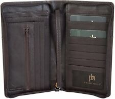 PRIMEHIDE DARK BROWN RFID LEATHER TRAVEL ORGANISER PASSPORT ZIP AROUND CASE 9300