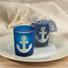 24 Blue And Silver Anchor Votive Candles Nautical Bridal Shower Wedding Favors