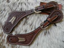 Quality Rawhide Tooled Supple Dark Oil Leather Western Pair of Spur Straps