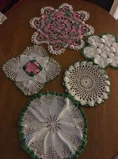 vintage doilies Beautiful Lot Of 5 Pink, Green  And White From 9-14 Inches.