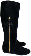 $695 Stuart Weitzman Boot Tass Hidden Wedge Black Suede Gold Zipper Bootie 8- 38