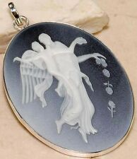 White Italian Cameo Onyx Angel 925 Solid Sterling Silver Pendant
