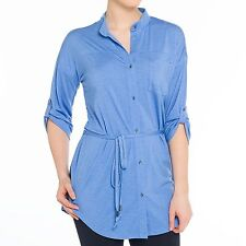 Lole - M - NWT - Solid Blue Heather Button-Tab 3/4 Sleeve Jersey Knit Tunic $92