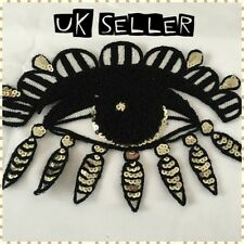 24cm All Seeing Evil Eye Sequin Iron / Sew On Embroidered Cloth Patch