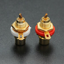 2pcs White&Red Gold Plated Female RCA Phono Jack Panel Mount Chassis Socket Set