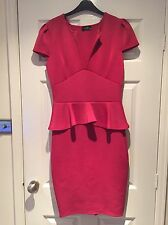 Club L Ladies Pink Peplum Dress Uk Size 14