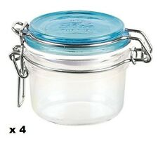 Set 4 x New Fido Clip-Top 200cc Glass Jars with Blue Lids Bormioli Rocco Italy