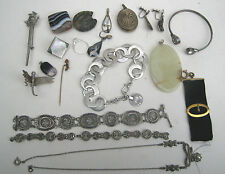 Mixed Lot of Old & Vintage Costume Jewellery Wear Spares Repair some Silver