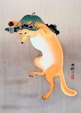 DANCING FOX, FROM JAPANESE PRINT BY OHARA KOSON, FRIDGE MAGNET
