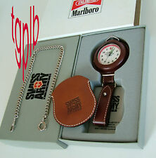 NOS SWISS ARMY~Unlimited II Marlboro POCKET Gent's Watch~2 Leather Pouches+Chain