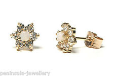 9ct Gold Opal cluster Stud earrings Made in UK Gift Boxed
