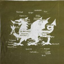 TEX EX ORIGINAL CYMRU WELSH DRAGON MAP GREEN CUSHION PANEL WALES COTTON SATEEN