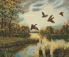 WALL JACQUARD WOVEN TAPESTRY Landscape with Ducks WILD LIFE - EURO ART PICTURE