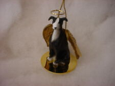 GREYHOUND Black White DOG ANGEL Ornament Resin Figurine NEW Christmas puppy