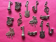 Tibetan Silver Mixed Musical Instruments Charms #2 - 14 per pack - music themes