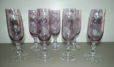 SET OF EIGHT (8) CRYSTAL PURPLE ETCHED CHAMPAGNE FLUTES BUTTERFLIES DRAGONFLIES
