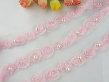"3/4""*1yard delicate pink 3D flower lace trim for DIY sewing fabric with pearl"