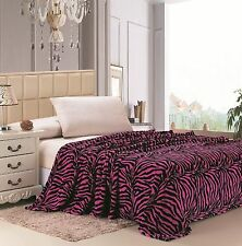 Soft & Cozy Microplush Animal Print-Pink Zebra Blanket-Size Queen-NEW-SHIPS FREE